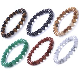 BaseBall Beads online shopping - 8mm Meditation Bracelet Fashion Mens Womens Jewelry Natural Gemstone Beads Reiki Healing Crystal Semi Precious Elastic Bracelet D74S A