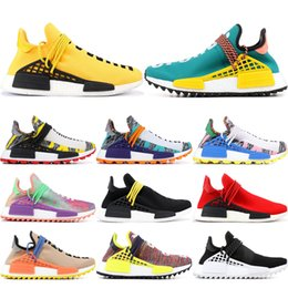 Sun body online shopping - NMD Human Race Mens Running Shoes Pharrell Williams Yellow Nerd Multi Color Black White Sun Glow Tie Dye Sport Designer Shoes Women Sneakers