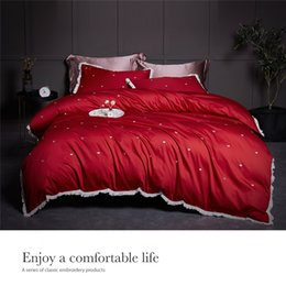 Red Embroidered Bedding Australia - Embroidered Cotton 4Pcs Bedding Sets Red With Fringe King Queen Size Bed Sheet Set Duvet Cover Pillowcases