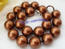 $enCountryForm.capitalKeyWord Australia - Prett Lovely Women's Wedding FREE shipping>>>>stunning big 20mm round chocolate coffee south sea shell pearls necklace d814