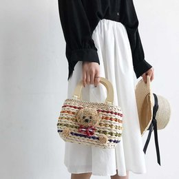 $enCountryForm.capitalKeyWord Australia - Cutehand Made Bear Flower Design Straw Handbag Women Weaving Summer Beach Bag Ladies Hand Shoulder Bags Brands Designer Tote