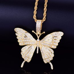 Wholesale New Animal Butterfly Necklace Pendant With Rope Chain Gold Silver Cubic Zircon Men s Women Hip hop Rock Jewelry