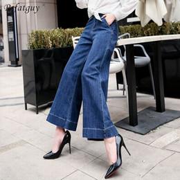 $enCountryForm.capitalKeyWord Australia - High Quality Dark Blue Full Length Jeans Women Spring 2019 New Fashion Straight Wide Leg Denim Pants Casual Female Long Trousers