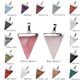 triangle quartz pendant Australia - Natural Stone Crystal Quartz Healing Point Chakra Gemstone Silver Plated Triangle Pendant Necklaces stone-style Jewelry Cristal Jewellry
