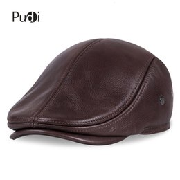 baseball hat ear warmers UK - HL042 Spring Men's Real Genuine cow Leather baseball Cap brand Newsboy  Beret Hat winter warm caps&hats men with ears ear flap T191022