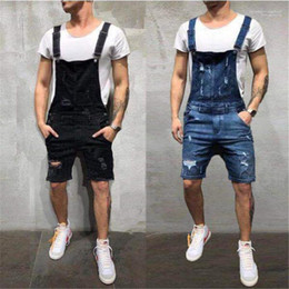 american apparel style 2020 - Summer Fashion Holes Jean Work Pants Male Apparel Designer Skinny Short Mens Jean Overalls discount american apparel sty