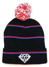 Black Diamond Caps UK - 2017 New Unisex Autumn Winter beanies men diamond knitted hats casual hip hop skull caps ski gorro Bonnet pom-pom women beanie hat wholesale