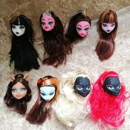 Nudes statue online shopping - Monster Doll Head with Hair Wig Dolls Original Monster Fair doll with long hair Plastic Devil Nude Dolls Head DIY Heads Accessories Gifts