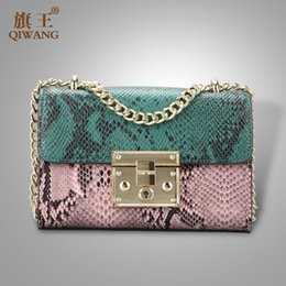 Genuine Leather Snakeskin NZ - QIWANG Small China Bag Split Leather Handbag High Quality Shoulder Handbag Crossbody Snakeskin Pattern Chain Bag Purse QW9792