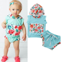 2018 New Kids Girl Summer Floral Clothes Baby Girl Tops Hoodie Sleeveless Pocket T-shirt+Shorts Pants Children Outfit Set