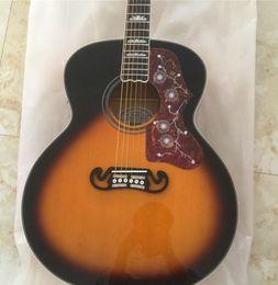Пользовательские магазин 43-дюймовый Jumbo табачный Санберст J200 электрический акустическая гитара красное вино Черепаха накладкой, колки Гровер, копию Фишман пикап на Распродаже
