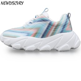 $enCountryForm.capitalKeyWord NZ - Newdiscvry Mesh Breathable Women's Platform Sneaker Chunky Shoes Women 2019 Summer Thick Sole Womantrainers Ladies Dad Footwear MX190816