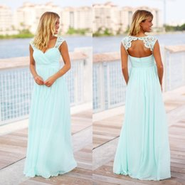 Wholesale Mint Green Boho Chiffon Bridesmaid Dresses Cap Sleeves Lace Applique Hollow Back Beach Wedding Guest Maid of Honor Gowns Custom Made