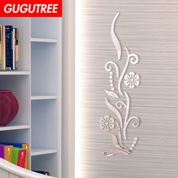 crystal sticker decals Australia - Decorate Home 3D flower leaf cartoon mirror art wall sticker decoration Decals mural painting Removable Decor Wallpaper G-410