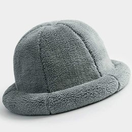 913f81e2 Solid Color Bucket Hats NZ - 2019 Women Winter Faux Fur Thick Warm Plush Bucket  Hats