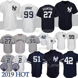 c2c56de846cd Calidad superior 99 Aaron Judge Nueva York camisetas Yankees 2 DJ 27 GS 3  Babe Ruth 42 Mariano Rivera 7 Mickey Mantle