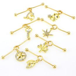 $enCountryForm.capitalKeyWord Australia - Lovely Gold Stars Key Cat Heart Dangle Pendant Ear Stud Piercings Earrings Long Type Lip Ear Earring Piercing Body Jewelry