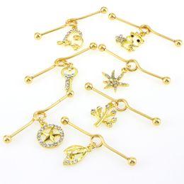 $enCountryForm.capitalKeyWord Australia - Lovely Gold Stars Key Cat Heart Shape Dangle Pendant Ear Stud Piercings Earrings Long Type Lip Ear Earring Piercing Party Jewelry