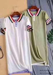 $enCountryForm.capitalKeyWord Australia - Colour rainbow polo dress Korean version high waist loose straight tube short sleeve knitted skirt dress
