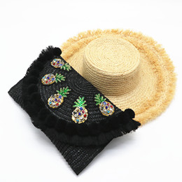 cute black hand bags 2019 - 2019 Summer New Straw Beach Day Clutch Bag Floral Messenger Bag Rattan Weave Crossbody Small Cute Luxury Designer Hand c