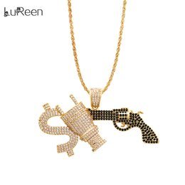 Necklaces Pendants Australia - LuReen 24 Inch Gold Dollar Plug Gun Pendant Necklace Men's Iced Out Hip Hop Pendant Full Pave CZ Jewelry Gift