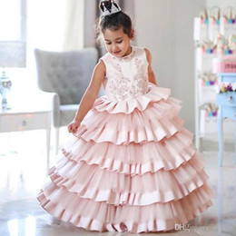 wedding dress cake images Australia - Modern Puffy Little Girls Dress for Wedding Jewel Neck Tiered Satin and Tulle Cake Cup Party Gown Floor Length Children Birthday Dress