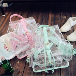 Cute Satchel Backpacks NZ - 2018 New Cute Clear Plastic See Through Transparent Backpack Women Girl Student Travel Bag Satchel Pvc School Book Bag Y19051405