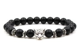 fish balls Australia - 8mm fg53 gold silver ball Frosted agate Onyx nature black stone Lion head Bracelet Reiki Chakra Fashion