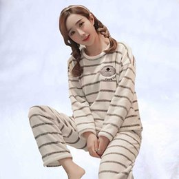 sexy students girls animals 2019 - Flannel pajama girl winter added thick coral velvet han edition cartoon lovely girl student set autumn winter home cloth