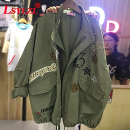 New 2018 Military Style Spring Jacket Women Plus Size XL-5XL Casual Embroidery Long Sleeve Loose Coats Female Jacket T191218