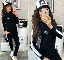 Wholesale united states baseball online – oversize Europe and the United States ladies new sports casual suit comfortable high quality knitted fabrics