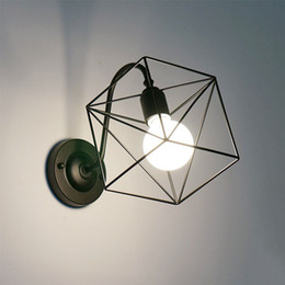 simple iron lamps Canada - Lamp Restaurant Home Decoration Personality Corridor Wall Lamp Shop Iron Art Simple Quadrilateral Wall Hanging