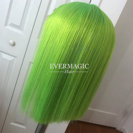 Silky Green Wigs Australia - Customize Color PINK BLUE GREEN PURPLE Red Bob Wig Full Lace Wig Human Hair For Black Women