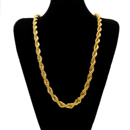 18k heavy chain Australia - 10mm Thick 78cm Long Rope Twisted Chain necklaces 18K Gold Plated Hip hop Twisted Heavy Necklace For mens