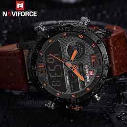 Mens Military Wrist Watches Australia - Mens Watches To Luxury Brand Men Leather Sport Naviforce Men Watch Quartz Led Digital Clock Waterproof Military Wrist Watch 9134 Y19052103