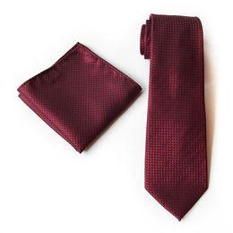 $enCountryForm.capitalKeyWord Australia - 20 Colors Orange Navy Blue Red Pink Plaid 100%Silk Wedding Jacquard Woven Men Tie Necktie Pocket Square Handkerchief Set Suit