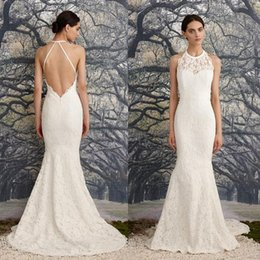 $enCountryForm.capitalKeyWord Australia - Latest A Line Wedding Dresses Sleeveless Halter Lace Appliques Bridal Gowns Sexy Open Back Custom Made Elegant Wedding Dress