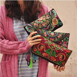 chinese ethnic handbags NZ - Women Ethnic National Retro Butterfly Flower Bags Handbag Coin Purse Embroidered Lady Clutch Tassel Small Flap Summer Bolsa Sale