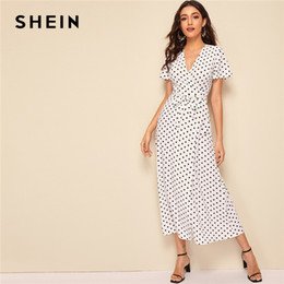 a44307e762 Shein dreSSeS online shopping - SHEIN Elegant White Polka Dot Print Belted  Wrap Maxi Dress Women