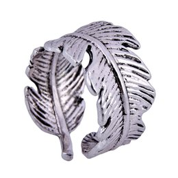 $enCountryForm.capitalKeyWord UK - Punk Wide Feather Leaf Ring for Women Silver Color Vintage Biker Jewelry Cool Fence Shape Open Cuff Ring Female Bijoux Gift