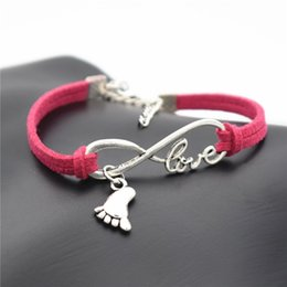 $enCountryForm.capitalKeyWord Australia - Silver Color Infinity Love Foot Feet Pendant Bracelet For Women Men Lucky Couple Bangles Handmade Red Leather Suede Rope Family Jewelry Gift