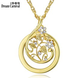 gold mum UK - DreamCarnival 1989 Flower Sweater Necklace for Women Rhodium Gold Color Magnifying Glass Pendant for Reading Gift Mum Parents