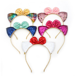 Girls Sequin Hair Accessories Australia - Girls colorful sequins cat ear hair sticks shining kids sequins Bows princess hair accessories children birthday party headbands F4359