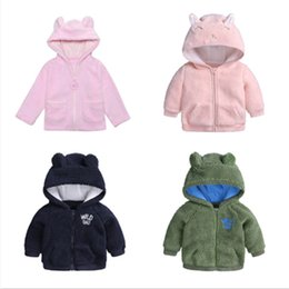 cute baby clothes ears UK - Toddler Baby Girl Clothes Girls Boys Thicken Winter Faux Fur Hodded Cute Bear Ears Jackets Zipper Outerwear Children Coat 9-24M