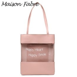 Ladies Shoulder Strap Handbags Australia - Maison Fabre Bag women leather Shoulder bag strap handles letter transparent pvc 2019 summer ladies small square handbags