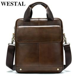 Male cross chain online shopping - WESTAL shoulder bag for men genuine leather male messenger crossbody bags bussiness laptop handbags for document design tote