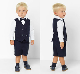 Handsome Kids Suits Australia - Spring Kids Formal Wedding Tuxedos Handsome 2 Pieces Double Breasted Summer Boy's Pants Suits Flower Boys Wear(Vest+Pants)