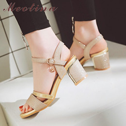 $enCountryForm.capitalKeyWord Australia - Meotina Women Sandals Block Heels Lady Party Shoes Glitter High Heels Summer Shoes Peep Toe Buckle Gold 2018 New Big Size 33-43 Y19070303