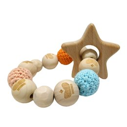 CroChet baby teether online shopping - Wood Teether Bracelet Food Grade Beech Wooden animal Crochet Beads DIY Jewelry Teething Toy Baby care bracelet teether