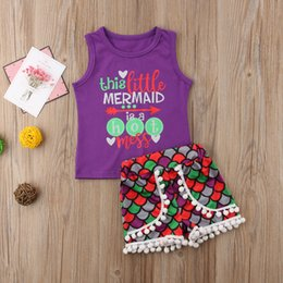 baby girl mermaid outfit UK - 2018 new Mermaid Baby Girls Kids Summer T-shirt Tops and Pants Shorts 2PCS Outfits Set fasion print cute features CH
